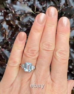 Art Deco Aquamarine and Diamond Platinum Ring 0.45ct + 3.0ct