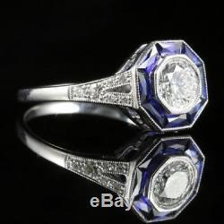 Art Deco Blue Sapphire Diamond Vintage Engagement Wedding Ring 14K White Gold