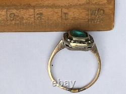 Art Deco C 20s Emerald and Diamond Paste Ring 9ct Gold and Silver Sz O