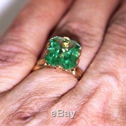 Art Deco Complete colour Change Spinel Blue Green 18ct Rose Gold Ring K 5 1/4