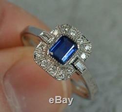 Art Deco Design 18ct White Gold Sapphire & Diamond Cluster Panel Ring f0521