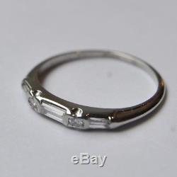 Art Deco Diamond Baguette Band c. 1920 Platinum Wedding Band Antique Edwardian