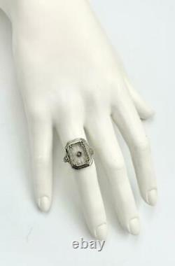Art Deco Diamond Ring Frosted Rock Crystal 14K White Gold Camphor Glass Filigree
