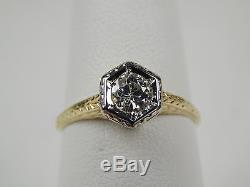 Art Deco Diamond Solitaire Engagement Ring 14 kt Gold Size 6 1/2 #9921
