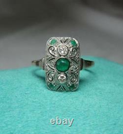 Art Deco Emerald Diamond Ring Wedding Engagement Jackie Kennedy 14K Gold c1930