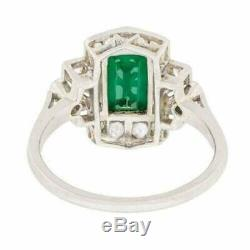 Art Deco Engagement & Wedding Ring 3Ct Green Emerald Diamond 14k White Gold Over
