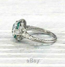 Art Deco Engagement Wedding Ring Sapphire 3 Ct Round Diamond 14k White Gold Over