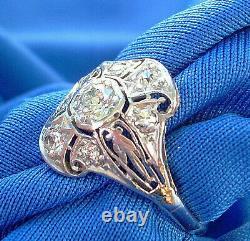 Art Deco European Cut Diamond Platinum Engagement Ring Antique Vintage Solitaire