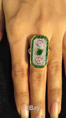 Art Deco Green Emerald Three stone Vintage Antique Engagement Ring Circa 1920