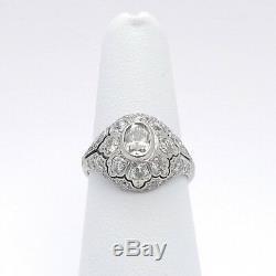 Art Deco Platinum 2ctw Oval Diamond Pavè Halo Engagement Cocktail Ring sz6.25