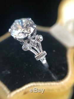 Art Deco Platinum Transitional Cut Diamond 2.45ct Solitaire Ring