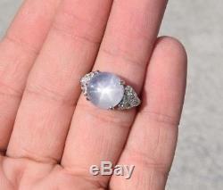 Art Deco Star Sapphire 7.50 ct Diamond Ring Platinum size 6.25