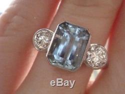 Art Deco Style Platinum Aquamarine 1.80ct And Diamond 0.62ct 3 Stone Ring