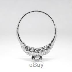 Art Deco Vintage Antique Old European Cut Diamond Platinum Engagement Ring