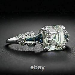 Art Deco Vintage Engagement Wedding Ring 14K White Gold Over 3Ct Asscher Diamond