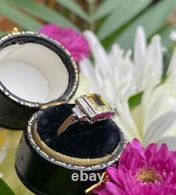 Art Deco Yellow Sapphire and Diamond Platinum Ring 0.35ct + 1.60ct