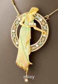 Art Nouveau 18k Gold Plique-a-Jour Enamel, Pearl, and Diamond Brooch Pendant