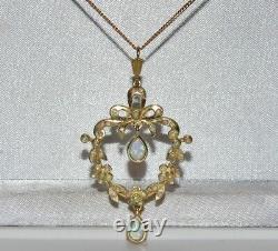 Art Nouveau 9ct Gold & Silver Fiery Opal Lavalier Pendant & Chain