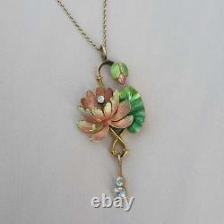 Art Nouveau Enamel Diamond Pendant Antique Necklace Art Nouveau Vintage Gold
