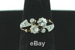 Art Nouveau (ca. 1915) 18K Yellow Gold Platinum European & Rose Cut Diamond Ring
