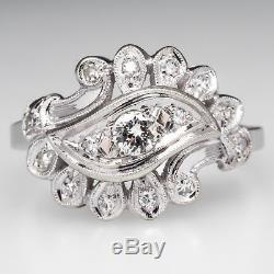 Art Vintage 2.20Ct White Diamond Flower Engagement Wedding Ring 14K White Gold