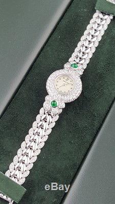 Audemars Piquet D series Ladies 18K White Gold Diamonds & Emeralds Case Box etc