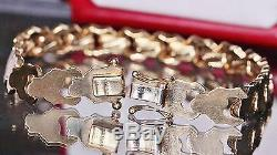 Aurafin 14k yellow gold bracelet 8.25 fancy Italian link vintage 12.7gr