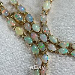 Australian Opal Diamond Necklace 14k Yellow Gold Natural Opal Tennis Necklace