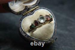 Beautiful Antique Georgian Multicoloured Paste & 9ct Gold Engraved Ring