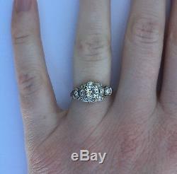 Beautiful Art Deco Platinum Diamond Engagement Ring. 50 Carat Center Very Nice
