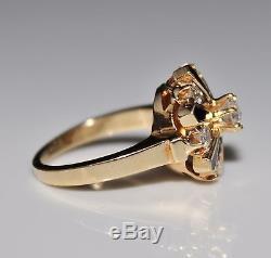Beautiful Vintage 14k Yellow Gold Enamel & Diamond Ring, 6.5, 1 CTW, Sparkly