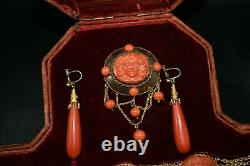 Beautiful Vintage Victorian 22K GOLD & Rare Red Coral Necklace with Earrings