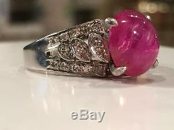 Beautiful vintage natural rosy red pink star sapphire diamond platinum ring sz 6
