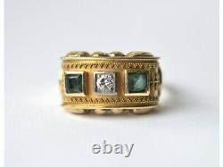 Bespoke 18ct gold emerald & diamond Byzantine design panel ring