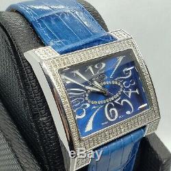 Blue 1 carat Fine Jewelry Diamond Watches. Real Genuine diamonds. Swiss SALE