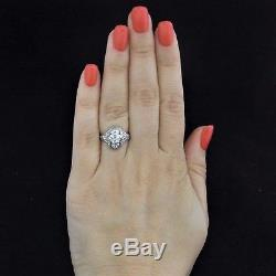 C. 1900's Edwardian Old Cut Diamond Platinum Ring Engagement Estate Antique
