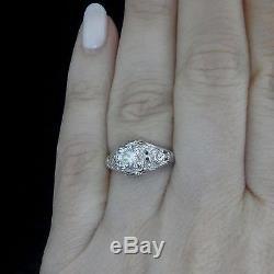 C. 1920s Art Deco Old Cut Diamond 14k White Gold Ring Engagement Vintage Antique