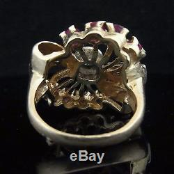 C. 1940s Retro 14k Rose Gold Diamond Ruby Huge Cocktail Ring Vintage Estate