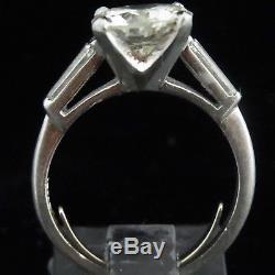 C. 1950s GIA Vintage 3ct Diamond Platinum Engagement Ring Estate Retro Bridal