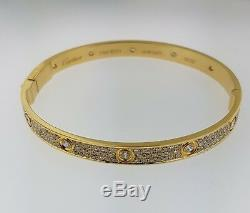 CARTIER LOVE BRACELET 18K YELLOW GOLD WITH PAVE 3.14 CARAT DIAMONDSSize 21BOX