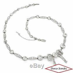 CARTIER Paris Antique Art Deco Diamond Ribbon Platinum Choker Necklace 21.2 Gram