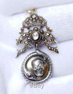 CIVIL War Gold Silver Diamonds Memento-mori Poison Locket Pendant Skull Snake