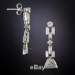 Certified 2.60Ct Trillion Diamond Art Deco Antique 14K White Gold Drop Earring