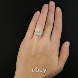Circa 1930s Engagement Vintage Estate Retro Ring 14K White Gold Over 2Ct Diamond