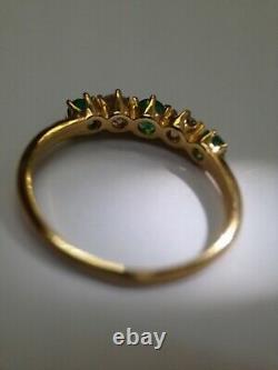 Colombian Emerald Mine Cut Diamond 18K Yellow Gold Ring Band Size 6.75