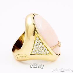 Designer 18k Gold English Angelskin Coral Diamond Reversible Onyx Ring! Sz 7.5