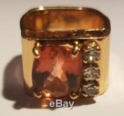 Designer Solid 14k Rose Gold Big 5ct Pink Tourmaline Diamond Sz 6 Ring 14.5g Wow
