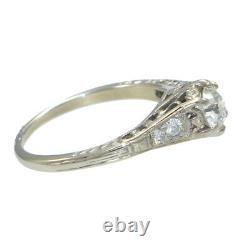 Diamond 1940s Antique Art Deco Estate Engagement Ring 14k White Gold Filigree