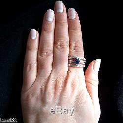 Diamonds Blue Sapphire 14k White Gold Crossover Cocktail Ring Crossover Band