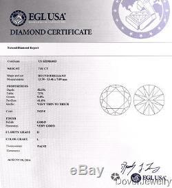 EGL 9.15ct Round Diamond Platinum Engagement Ring 8.8 Grams NR